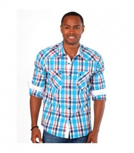 Something Strong Men's Plaid Western Shirt in Blue