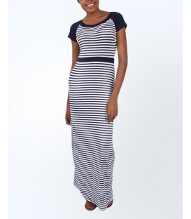 Fever London Brighton Maxi Dress - Navy Blue/White