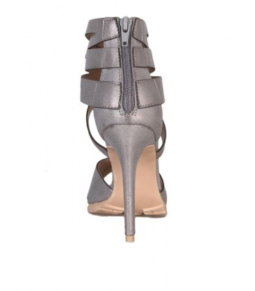 Vanessa's Secret Heeled Sandal With Ankle Zip Detail - Silver